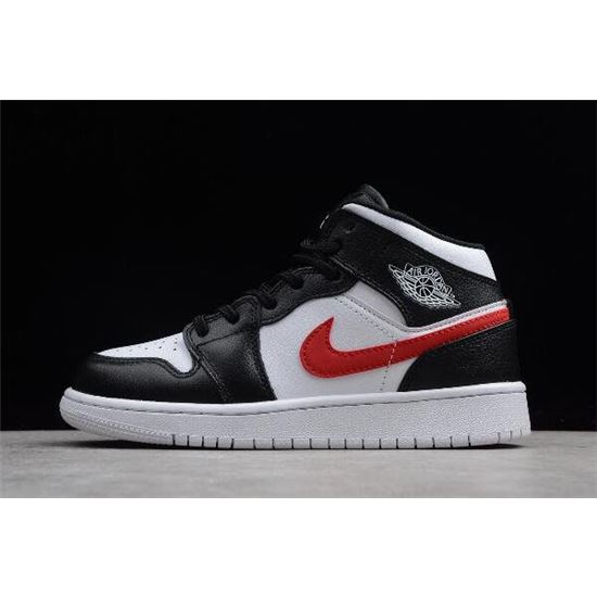 Grade School Air Jordan 1 Mid Multi Swoosh Black/White ...