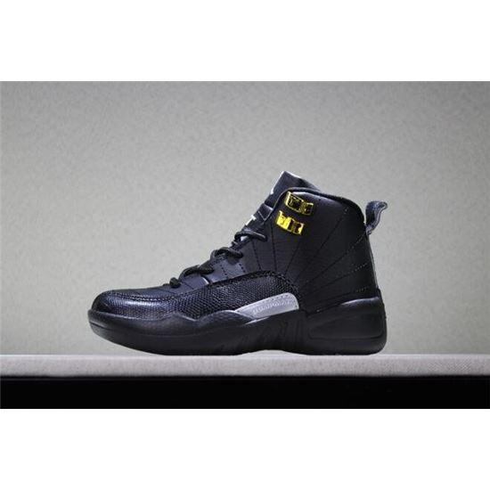 ee33d7169643 Kid s Air Jordan 12 The Master Black Rattan-White-Metallic Gold ...